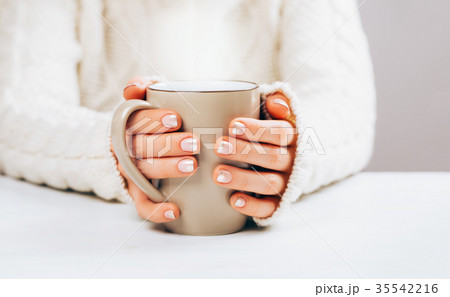 Woman with manicure and cup.の写真素材 [35542216] - PIXTA