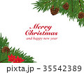 クリスマス ポインセチアと松ぼっくりのフレーム素材 35542389