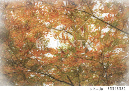 Crayon Drawing; Fall Color Leaves 35543582
