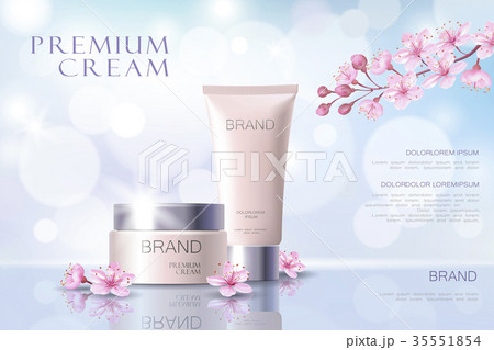 sakura flower cosmetic promotional poster templateのイラスト素材