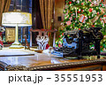 Retro Christmas interior with old typewriter 35551953