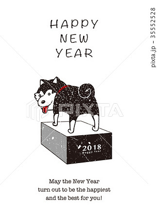 2018年賀状テンプレート_柴犬02_HNY_英語添え書き付き