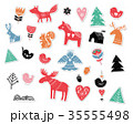 Christmas hand drawn stickers in Scandinavian, Nordic style illustrations 35555498