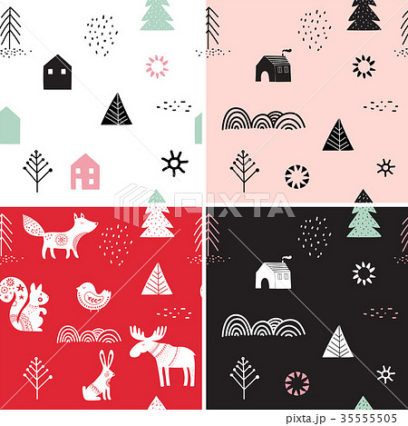 Christmas, winter seamless patterns set, hand drawn elements in Scandinavian style 35555505