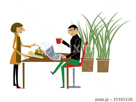 ビジネスのクリップアートノマドカフェで仕事をする人のイラスト