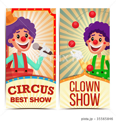 circus clown vertical banners template vectorのイラスト素材