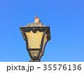 Old vintage metal street lamp and bird 35576136
