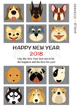 2018年賀状テンプレート_人気犬12種_HNY_英語添え書き付き