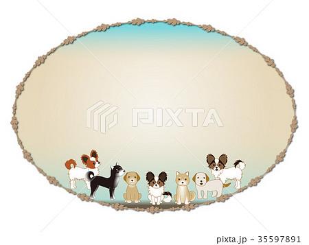犬 フレーム レトロ 年賀状 35597891