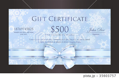 blue christmas gift certificate with snowflakesのイラスト素材