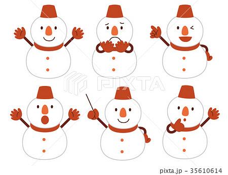 雪だるま 表情 35610614