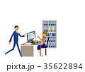 オフィスの男女。デスクトップパソコン。ビジネスシーン。 35622894