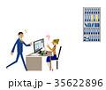 オフィスの男女。デスクトップパソコン。ビジネスシーン。 35622896
