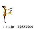 カフェ 喫茶店 女性のイラスト 35623509