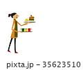 カフェ 喫茶店 女性のイラスト 35623510