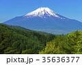 新緑 富士山 残雪の写真 35636377