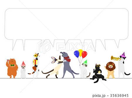 猫のパーティー ボーダー 吹き出し 35636945