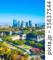 秋の大阪城と超高層ビル 35637544