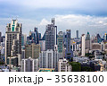 都会の景色ビル郡、青空、タイ、バンコク、アソークエリア 35638100