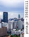 都会の景色ビル郡、青空、タイ、バンコク、アソークエリア 35638111
