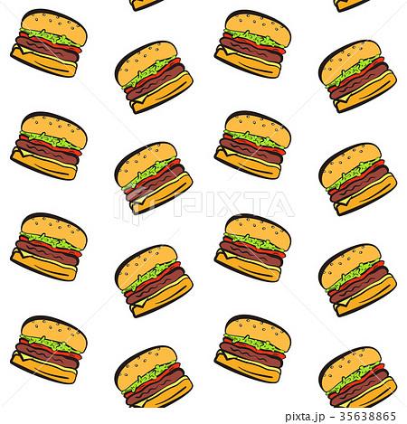 Cartoon falling hamburgers seamless pattern 35638865