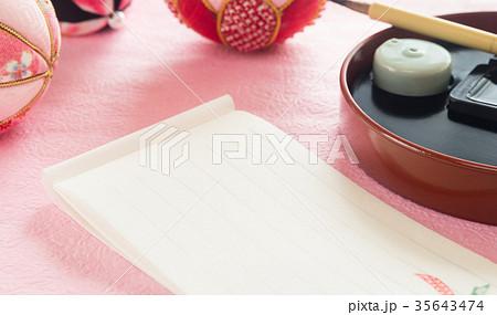 一筆箋 短信 毛筆 自筆 新春 初春 お祝い 正月 雛祭り 手毬 35643474