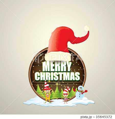 vector christmas label with red santa hat treeのイラスト素材