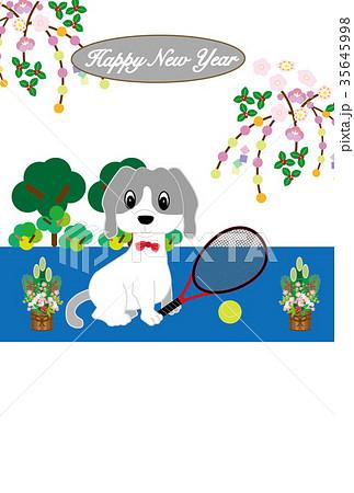 テニスラケットとテニスボールと犬のイラスト年賀状テンプレート 戌年 35645998