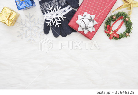 Christmas background with decorations gift box の写真素材 [35646328] - PIXTA