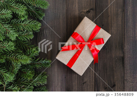 Christmas fir tree branches and gift boxの写真素材 [35648809] - PIXTA