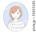鏡 女性 化粧のイラスト 35655285