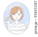 鏡 女性 アイメイクのイラスト 35655287