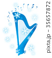 雪と楽器_グランドハープ  35657872