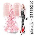 女性 ドレス クリスマスのイラスト 35669210