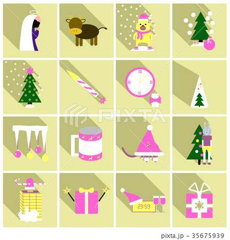 Flat Line Holiday Christmas Icons Set. Vector Set 35675939