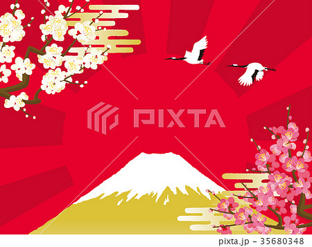 富士山と鶴 背景イラスト 35680348