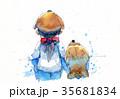 わんこ 犬 帽子のイラスト 35681834