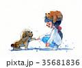 わんこ 犬 帽子のイラスト 35681836