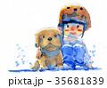 わんこ 犬 帽子のイラスト 35681839