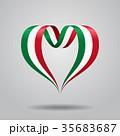 Italian flag heart-shaped ribbon. Vector 35683687