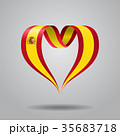 Spanish flag heart-shaped ribbon. Vector 35683718