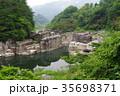 信州 木曽路の景勝 寝覚の床 木曽川に侵食された奇岩がならぶ 浦島太郎伝説も残る 35698371