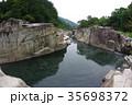 信州 木曽路の景勝 寝覚の床 木曽川に侵食された奇岩がならぶ 浦島太郎伝説も残る 35698372