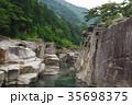 信州 木曽路の景勝 寝覚の床 木曽川に侵食された奇岩がならぶ 浦島太郎伝説も残る 35698375