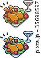 クリスマス チキン 料理のイラスト 35698597