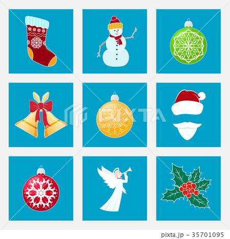 Set of Colorful Christmas Icons 35701095