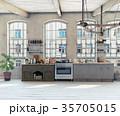 Attic loft kitchen interior. 35705015