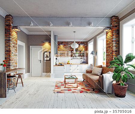 modern apartment interior 35705016