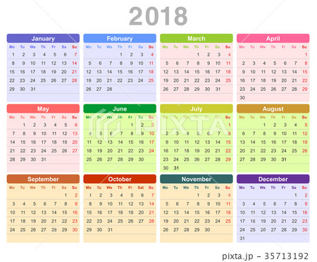 2018 year annual calendar (Monday first, English) 35713192