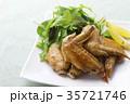 手羽先の甘辛焼き 手羽先焼き 肉料理の写真 35721746
